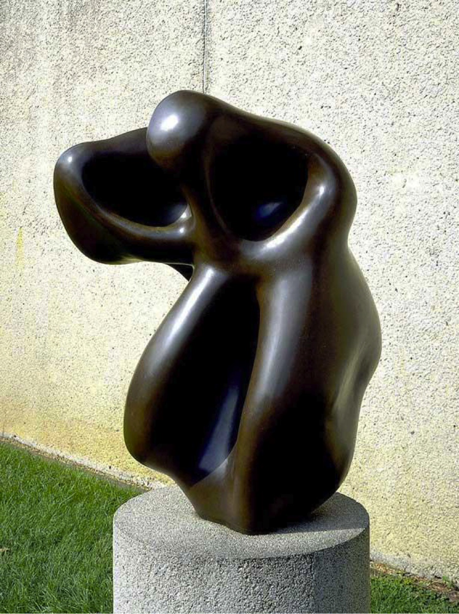 Jean Arp, bronze.  Looks like a figure (s) but has a lot of energy. Seems to be expanding, contracting?